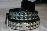 Doc Black - Black Two Row Pyramid Belt